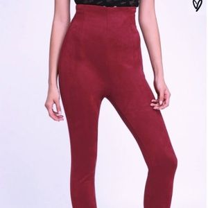 Lulu's Wine Red High Waisted Suede Pants